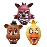 3 Unids / Set Cinco Noches En Freddy'S Freddy Fazebear Chica Foxy Bear Máscara De Látex Completa Disfraz FNAF Juguetes Máscara De Horror De Halloween