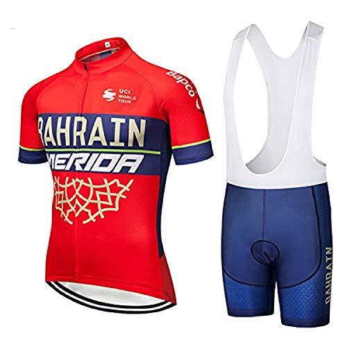 TOPCYCST Maillot Ciclismo Hombre, Transpirable y de Secado Rápido Ropa Ciclismo con Culotes Ciclismo, MTB (2XL, Rojo)
