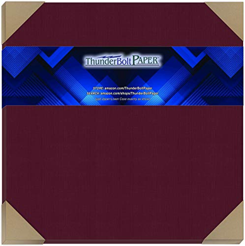 "25 Dark Burgundy Linen 80# Cover Paper Sheets - 12"" X 12"" (12X12 Inches) Scrapbook Album