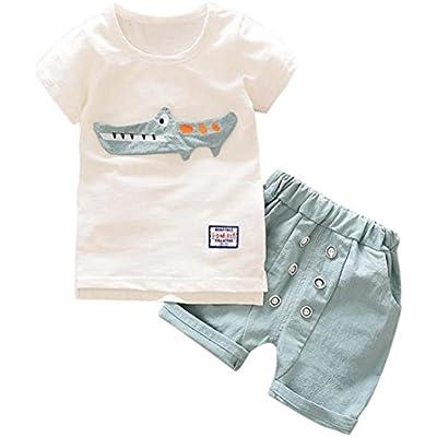 UK Cute Toddler Kid Boy Clothes Crown Print T-Shirt Shorts Pants 2Pcs Outfit Set