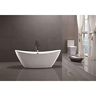 Vanity Art 71 inch Freestanding Acrylic Bathtub Modern Stand Alone Soaking Tub with Chrome Finish UPC Certified Round overflow and Pop-up Drain VA6807