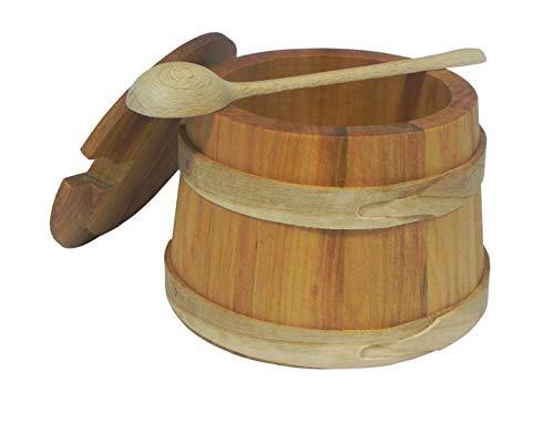 Zuccheriera in legno secchio con coperchio e cucchiaio sale spezie legno 12 cm C04
