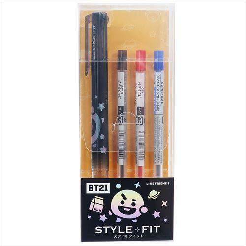 BTS 三菱鉛筆 ボールペン 3色 ジェットストリーム 0.5 スタイルフィット ホルダー 日本製 BT21 防弾少年団 SHOOKY 当店オリジナルロゴ入り名前シール 2点セット(ボールペン、名前シール)