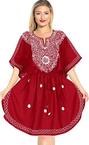 LA LEELA Damen Rayon überdimensional Midi Bestickt Kimono Kaftan Tunika Kaftan Damen Top Freie Größe Loungewear Urlaub Nachtwäsche Strand jeden Tag Kleider 42 (L) - 52 (4XL) Rot_T387