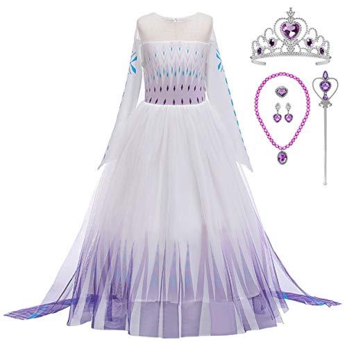 YOGLY - Disfraz de princesa para nia Elsa 2 vestido azul con diademas y varita mgica para Navidad, carnaval fiesta Vestido lila y accesorios morados. 140