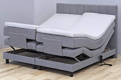 Tesla Dreams Boxspringbett 180x200 Emotion - Elektrisch verstellbare Matratze, 7 Zonen Taschenfederkern-Matratze, Topper VISCO/KALTSCHAUM, H2/H3, Grau (180x200 Kaltschaum, Grau)