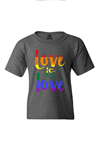 shop4ever Love is Love Youth's T-Shirt Gay Pride Shirts Youth X-Large Dark Heather0