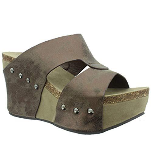 Pierre Dumas Women's Hester-7 Studded Platform Wedge Sandals,Bronze,9