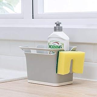 Qisiewell Organisateur d'évier gris pour évier de cuisine en plastique ABS 17,6 x 14,5 x 12,8 cm