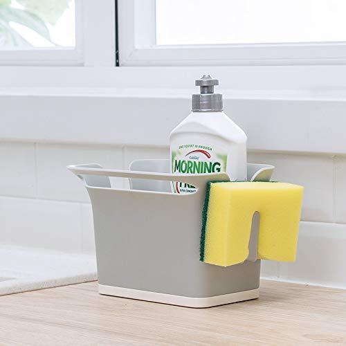 Qisiewell Spulbecken Organizer Grau fur das Spulbecken Caddy Ordnungshelfer Kuchenutensilienhalter ABS Plastik 17.6x14.5x12.8 cm