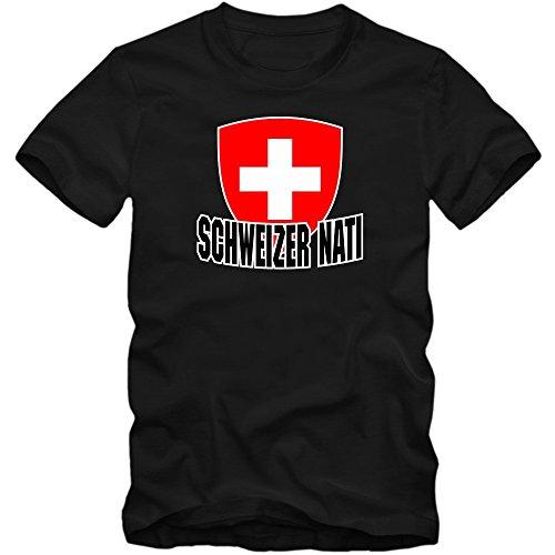 Schweiz WM 2018#4 T-Shirt | Fußball | Herren | Trikot | Schweizer NATI | Nationalmannschaft, Farbe:Schwarz (Deep Black L190);Größe:XL