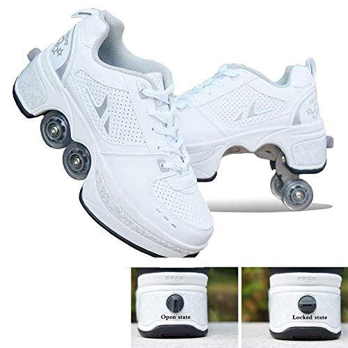 LZR Automatische Walking Schoenen Onzichtbare Rolschaats 2 in 1 Verwijderbare Pulley Skates Schaatsen Dubbele Rij Vervormen Wiel Vervorming