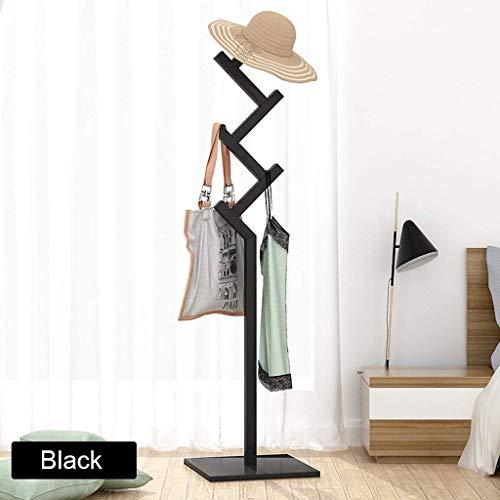 ZXL Möbel kledingrek, massief houten vloer garderobe eenvoudige slaapkamer kledinghanger huishuishuishuishuiselijke uitrusting plank opslag met 3 haken voor kleding sjaals en hoeden 163 cm (H) (kleur: C)