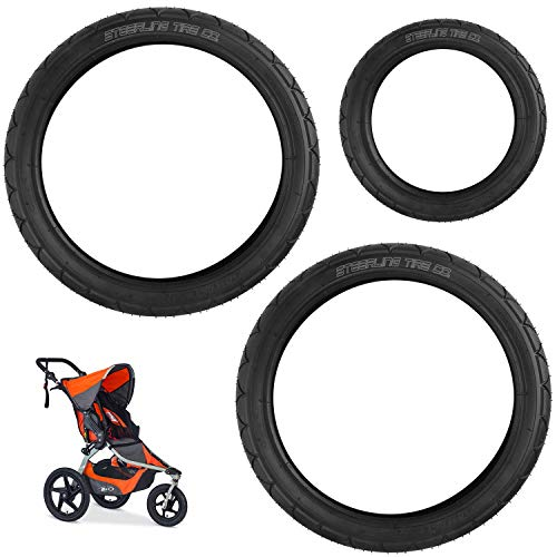 "[3-Pack] Two 16"" x 1.75 Rear and One 12.5"" x 2.25 Front Wheel Replacement Tires for BOB Revolution SE/Pro/Flex Strollers & Stroller Strides - The Perfect BOB Stroller Tire Replacement Set"