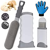 Pet Hair Remover, Upgrade Pet Hair Remover Brush & Pet Grooming Gloves Set, Perfect for Dog Cat with Long or Short Fur, Double-Sided Brush with Self-Cleaning Base for Clothing, Couch, Carpet, Car Seat