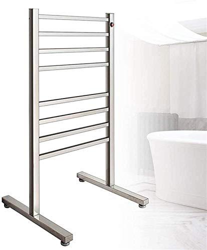 Toallero calefactado montado en la pared, Railleñas de toallas calefactoras de 8 barras de toalla independiente, calentador de toallas con calefacción eléctrica y perchero de secado Cuarto de baño 96W