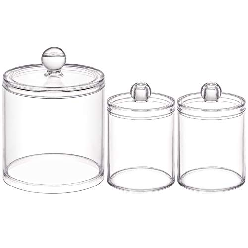 Tbestmax 10/20 Oz Cotton Swab Holder Qtip Apothecary Jar, Cotton Ball/Pad Dispenser Bathroom Containers for Storage 3 Pack