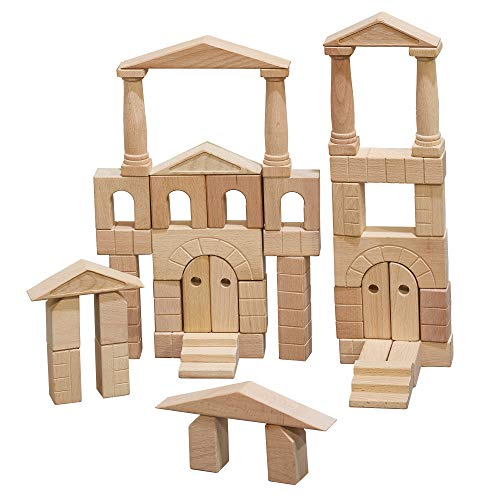 ECR4Kids ELR-19252 Hardwood Architectural Unit Block Play Set with Canvas Carry Case - Educational Wood Building Block Kit, Natural Finish (48-Piece Set)