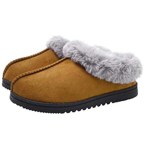 UBXRIN Womens Fuzzy Memory Foam Slippers Boots Cozy Faux Fur House Shoes Indoor Outdoor Rubber Sole Anti-Skid Khaki