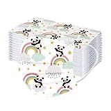 Binoop 50 Pezzi Bambini_𝗠ascherina con Passanti per le Orecchie,Visiera Bocca 3-ply per Bambini, Formato Faccia Libera USA e Getta,Stampa arcobaleno 20210130G (E)