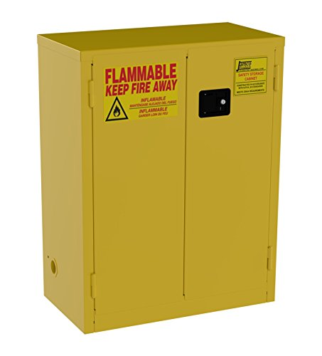 Jamco Products Model BM28 28-Gallon Safety Steel Cabinet for Flammable Liquids Manual Close Doors, (34-Inch x 18-Inch x 44-Inch), Yellow