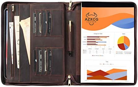 Handcrafted Genuine Leather Padfolio Business Document Organizer for Letter Size Notepad Zippered product image