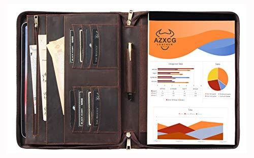 (US62) Cartera de piel auténtica hecha a mano, organizador de documentos de negocios para tamaño carta, portafolio con cierre para diestros o zurdos, funda de transporte profesional para hombres