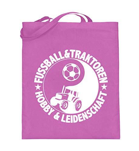 Camiseta de agricultor · Tractor · Regalo para campesinos · Mensaje: Fútbol y tractores – Bolsa de yute (con asas largas) – 38 cm – 42 cm de color rosa