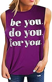 Summer Vest for Womens Letter Graphic Printing Vest T Shirts Funny Tees Crew Neck Sleeveless Workout Tank Tops Yamally