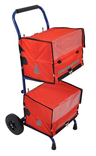 PAPERLINO Zeitungswagen mit 2 roten Zeitungstaschen • Innenmaße der Zustelltaschen ca. 40x30x30 cm • Robuster Zeitungstrolley (Zeitungsroller) mit stabilem Stand • Zustellerbedarf