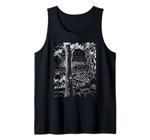 Paraíso, tropical, sendero de la selva, playa de la isla, toldo Camiseta sin Mangas