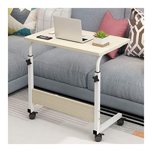 Pflegetisch Laptoptisch Höhenverstellbar, Laptopständer Holz Für Schlafzimmer, Wohnzimmer, Sofa Perfekte Aufbewahrung Beistelltisch Notebooktisch (Color : White Wood Color, Size : 80x50cm)