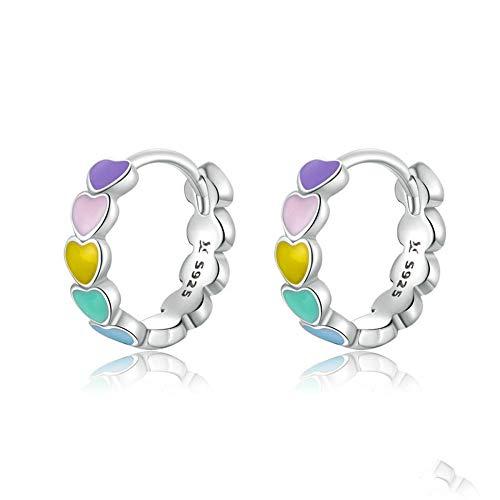 AdronQ Pendientes de aro de corazón de Esmalte de Color arcoíris de Plata de Ley 925 para Mujer