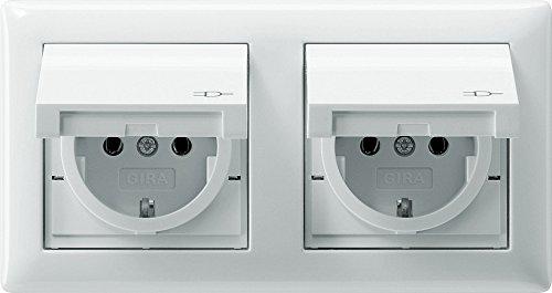 Komplett-Set Gira Standard 55 Abdeckrahmen, 2-fach - Reinweiß, glänzend mit 2x Steckdose, Klappdeckel -GIRA- -weiß-