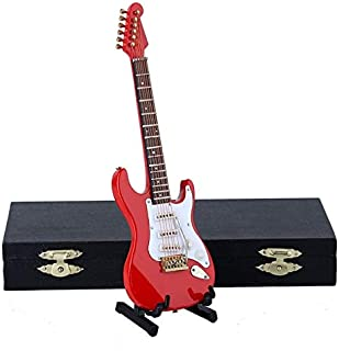 ZAMTAC Mini Electric Guitar Miniature Musical Model Music Instrument Miniature Display Model Guitars and Quality Case - (Color: Red, Size: 24cm)