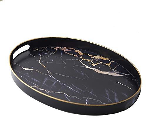 Sandiklife Serviertablett Oval Deko Tablett für Couchtisch Marmor Design geeignet für Ottomane Bett Outdoor Tee oder Essen