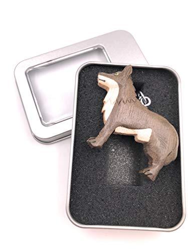 Onwomania Llavero lobo de madera animal depredador perro paquete animal con pezuña animal colgante...
