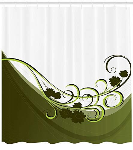 MMPTn Olivgrün Duschvorhang Hochzeit Inspiration Badezimmer Gedruckt Duschvorhänge Enthält 12 Haken für Kinder Kindergarten Dekorieren Moderne Bad Vorhänge 71 * 71 Zoll