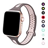 Bandiction Sport Watch Band Compatible with Apple Watch Series 5 38mm 40mm Band, Breathable Soft Sport Silicone Wristband for iWatch Series 5 4 3 2 1 Nike+,Sport,Edition (Smoke Violet/Pink Sand)