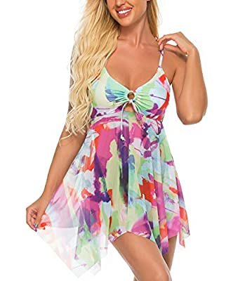 FINWANLO Womens Two Piece Swimsuits Tankini Top Set Mesh Swimdress Printed Swimwear with Boyshort Bathing Suits Rainbow