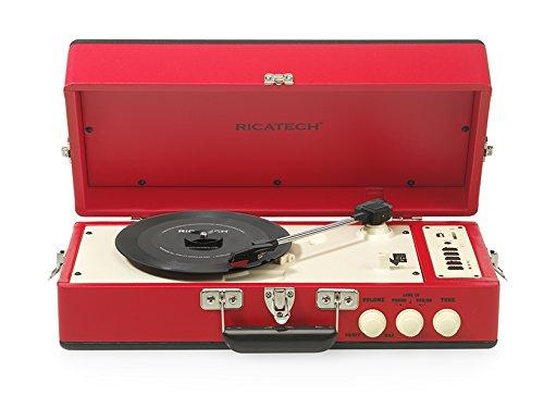 """Ricatech RTT98RED - Tocadiscos con 2 altavoces de 10 cm (4"""") integrados, diseño vintage, color rojo"""