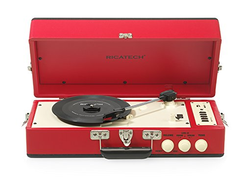 "Ricatech RTT98RED - Tocadiscos con 2 altavoces de 10 cm (4"") integrados, diseño vintage, color rojo"