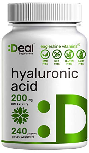 Hyaluronic Acid Supplements 200mg, 240 Capsules, 4 Months Supply, Improve Skin, Face, Hair, Nail Condition and Support Healthy Joints, Bones & Connective Tissue