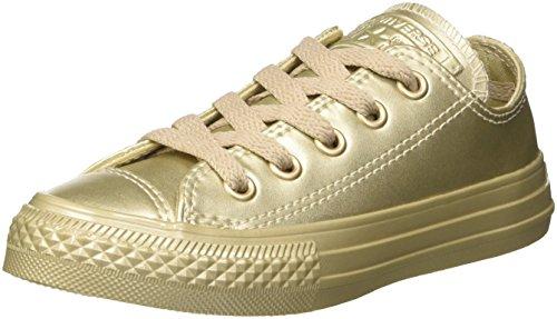 Converse Jungen Unisex-Kinder CTAS Ox Metallic Synth Leather Sneaker mit niedrigem Schaft, Gold Gold Gold, 30 EU