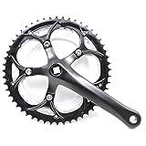 AYGANG Bielas Bicicleta MTB Crank Set Velocidad Hueco del Diente Placa de Bicicletas Juego de bielas MTB Bicicleta Bielas Piñón 87 (Color : Black)