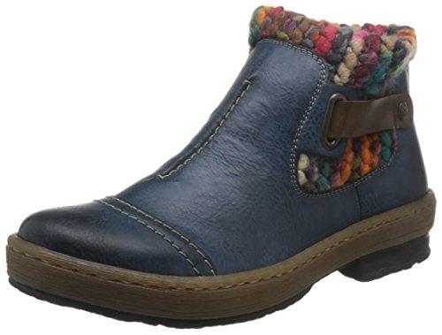 Rieker Ladies Casual Ankle Boots Z6784 - Blue Combi Manmade - UK Size 6 - EU Size 39 - US Size 8