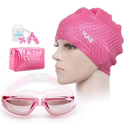 Fusanadarn zwembril voor mannen en vrouwen, HD, waterdicht, anti-condens, grote box, veiligheidsbril, badmuts en oordopjes