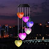 InpourPack Wind Chimes Outdoor, Gifts for mom, Solar Wind Chimes,Heart Wind Chime,Outdoor Decor, mom Gifts,mom Birthday Gift,Gardening Gifts