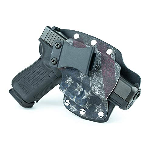 Infused Kydex USA Slanted Flag IWB Hybrid Concealed Carry Holster (Left-Hand, 1911-22/380 Cal Small Frame)