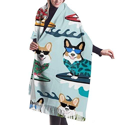 Perros divertidos con gafas de sol bufanda Pashmina para mujer Cachemira suave cálida manta gruesa chal de invierno abrigo elegante